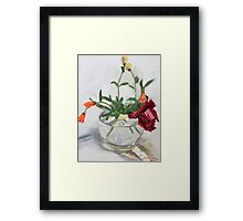 round bowl and flowers Framed Print