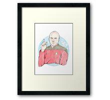 Watercolour Fanart Illustration of Captain Jean-Luc Picard from Star Trek: The Next Generation Framed Print