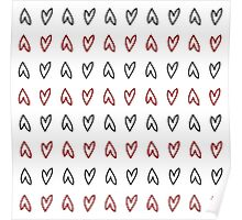 seamless pattern black and red heart Poster