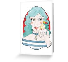 Watercolour Illustration of Blue-Haired, Nautical Meredith with a Cupcake Greeting Card