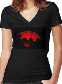 Glass Work - Red Vase Women's Fitted V-Neck T-Shirt