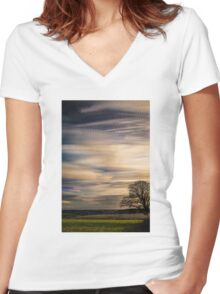 timelapse movement of clouds. Women's Fitted V-Neck T-Shirt