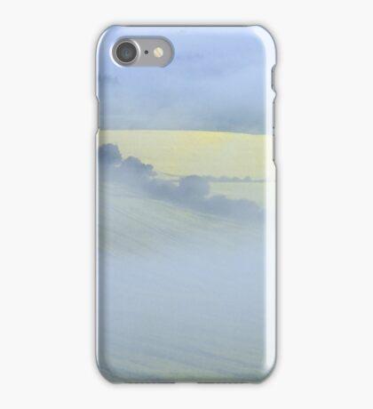 Misty morning over fields of oil seed rape in flower iPhone Case/Skin