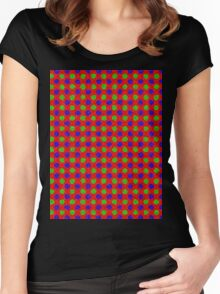 Polka Dot Fur Textured Red Green & Blue Pattern Women's Fitted Scoop T-Shirt