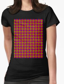 Polka Dot Fur Textured Red Green & Blue Pattern Womens Fitted T-Shirt