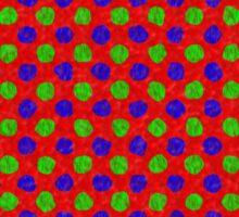 Polka Dot Fur Textured Red Green & Blue Pattern Sticker