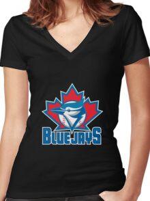 Toronto_Blue_Jays_Logo_ Women's Fitted V-Neck T-Shirt