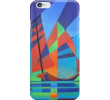 Cubist Abstract Junk Boat Against Deep Blue Sky iPhone Case/Skin