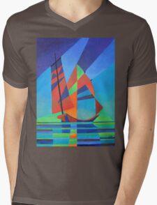 Cubist Abstract Junk Boat Against Deep Blue Sky Mens V-Neck T-Shirt