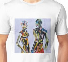Do you come here often, Painting of mannequin,robotic style models interacting. Unisex T-Shirt