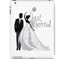 Just Married Wedding Bride Groom Throwing Bouquet Gown Tux Bridal Engagement Honeymoon Bae iPad Case/Skin