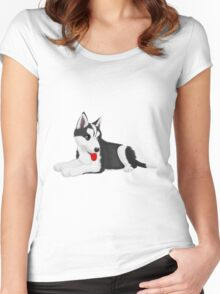 Cute dog art Women's Fitted Scoop T-Shirt