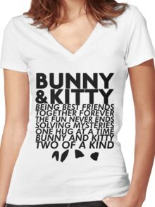 Bunny & Kitty Women's Fitted V-Neck T-Shirt