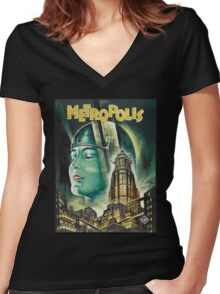 Metropolis 1927 - Movie Poster Women's Fitted V-Neck T-Shirt