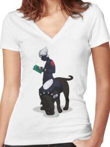 Kuciyose Women's Fitted V-Neck T-Shirt