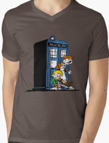 calvin and hobbes police box in action Mens V-Neck T-Shirt