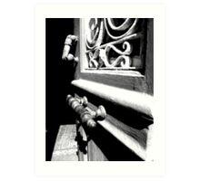 Through an open door into darkness Art Print