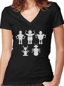 androids b&w Women's Fitted V-Neck T-Shirt