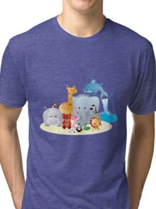 12 colourful zoo animals Tri-blend T-Shirt
