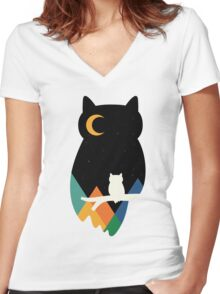 Eye On Owl Women's Fitted V-Neck T-Shirt