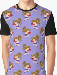 Little Boxer Girl Blue Pattern Graphic T-Shirt