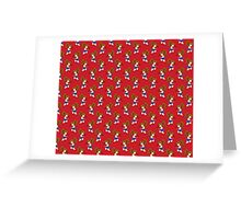 Little Boxing Girl Red Pattern Greeting Card