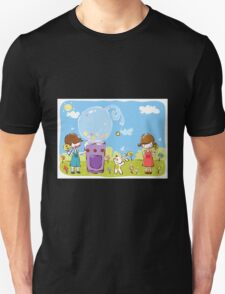Cartoon girl and boy kids enjoy with candy with dog in park Unisex T-Shirt
