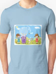 Cartoon girl and boy kids enjoy with candy with dog in park T-Shirt
