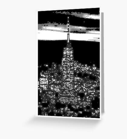 Modern abstract vector art, New York City 1930 at night black and white Greeting Card