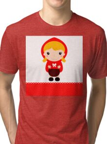 Cute beautiful Red riding hood with basket Tri-blend T-Shirt