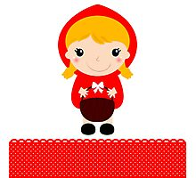 Cute beautiful Red riding hood with basket Photographic Print