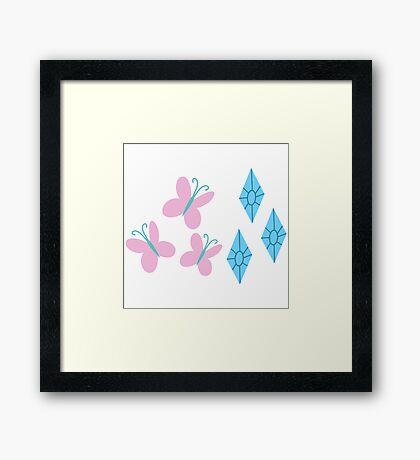 My little Pony - Fluttershy + Rarity Cutie Mark V3 Framed Print