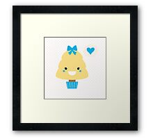 Stylized love kawaii tree - blue and yellow Framed Print