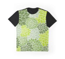 Dahlia Flowers, Petals, Blossoms - Green White Graphic T-Shirt