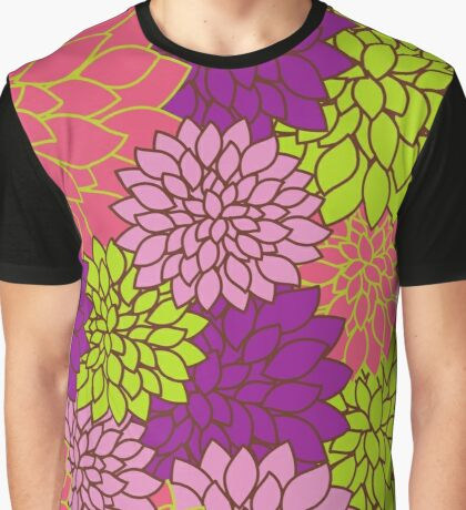 Dahlia Flowers, Blossoms - Pink Purple Green Graphic T-Shirt