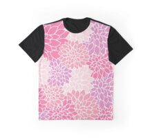 Dahlia Flowers, Petals, Blossoms - Pink Purple Graphic T-Shirt