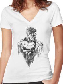 Punisher art Women's Fitted V-Neck T-Shirt
