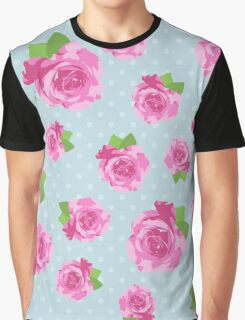 Shabby Chic, Polka Dots, Roses - Pink Green Blue Graphic T-Shirt
