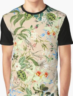 Hibiscus, Orchid, Rosebuds - White Blue Green Graphic T-Shirt