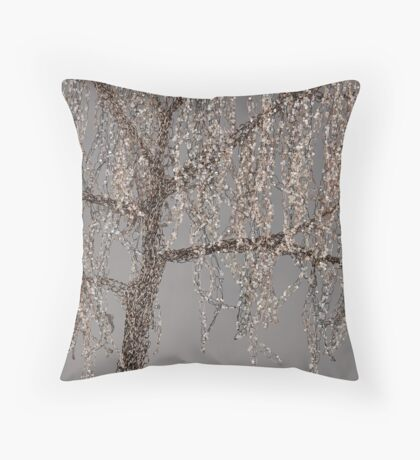 Winter Willow Tree - Dark Throw Pillow