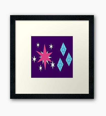 My little Pony - Twilight Sparkle + Rarity Cutie Mark Framed Print