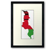 Flag Map of Malawi  Framed Print