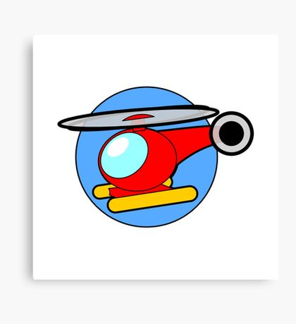Cartoon Helicopter Canvas Print