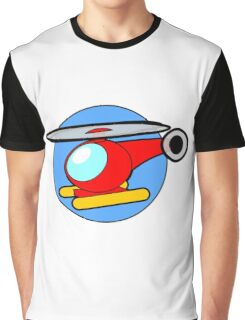 Cartoon Helicopter Graphic T-Shirt