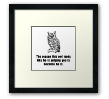 Owl Judge You Framed Print