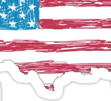 USA map with hand-drawn flag Sticker