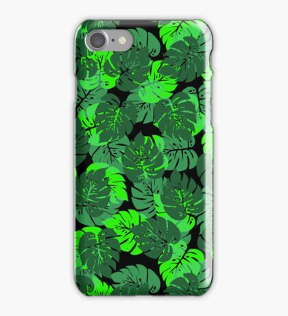 Big Monstera Tropical Leaf Hawaii Rain Forest Black and Green  iPhone Case/Skin