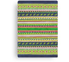 patterned stripes with leaves and flowers Canvas Print