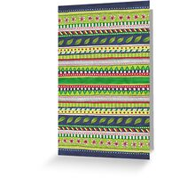 patterned stripes with leaves and flowers Greeting Card