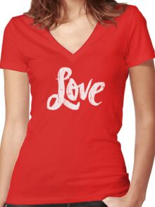 Bold Love Hand Lettering - Modern Distressed Calligraphy Word for Valentine - Red White Women's Fitted V-Neck T-Shirt